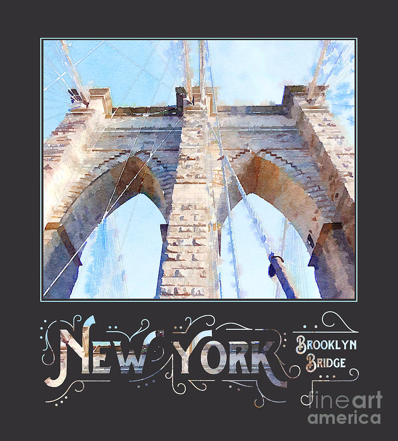 Brooklyn Bridge Digital Art - New York City Brooklyn Bridge Digital Watercolor by Beverly Claire Kaiya
