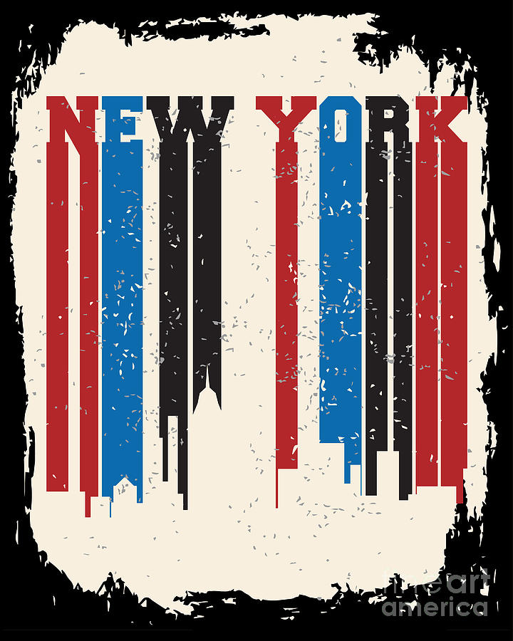 Typography Digital Art - New York City Concept. Logo. Label by Lemanruss