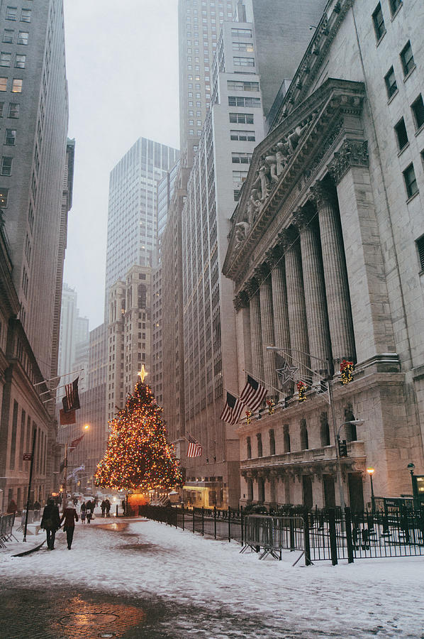 New York City Festive Holiday Tree In The Snow Financial District Photogr