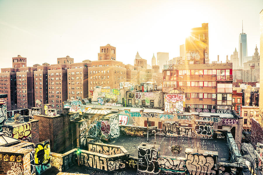 1 Wtc Photograph - New York City - Graffiti Rooftops Of Chinatown At Sunset by Vivienne Gucwa