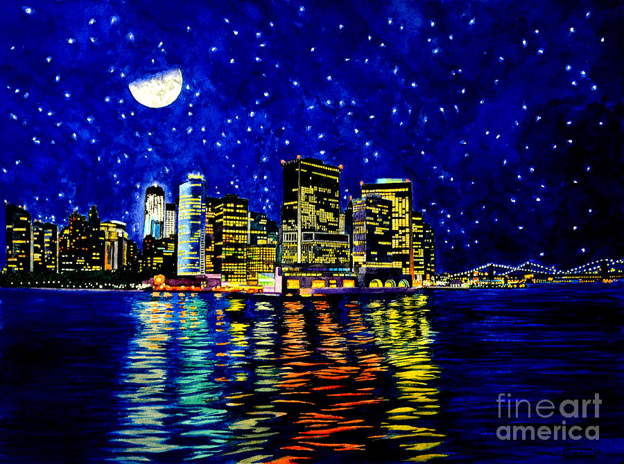 New York City Painting - New York City Lower Manhattan by Christopher Shellhammer