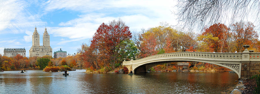 New York City Photograph - New York City Manhattan Central Park Panorama At Autumn by Songquan Deng