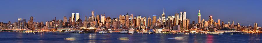 New York City Skyline Photograph - New York City Midtown Manhattan At Dusk by Jon Holiday