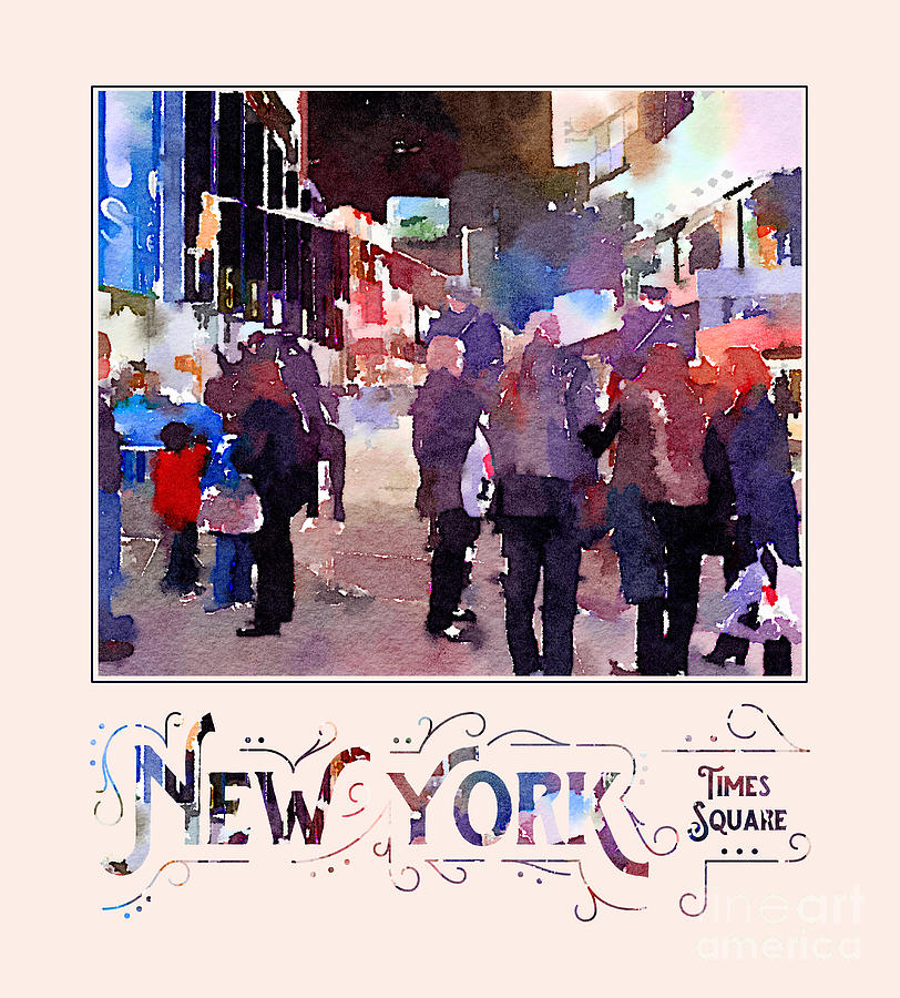 Mounted Police Digital Art - New York City Mounted Police Officers Digital Watercolor by Beverly Claire Kaiya