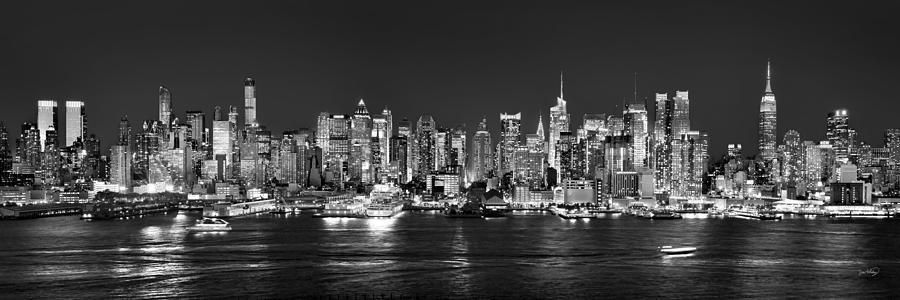 New York City Skyline Photograph - New York City Nyc Skyline Midtown Manhattan At Night Black And White by Jon Holiday