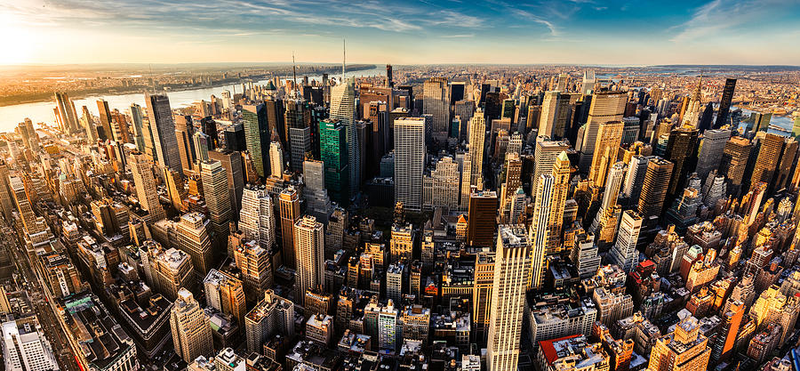 New York City Panoramic Aerial View Photograph by Ferrantraite