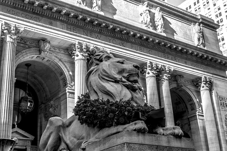 New York City Public Library Black And White Photograph