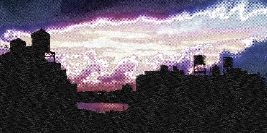 Nyc Painting - New York City Rooftops by Tony Rubino