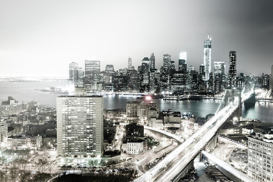 New York City Skyline At Night Photograph by Mundusimages
