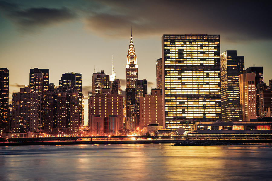 Nyc Photograph - New York City Skyline - Evening View by Vivienne Gucwa