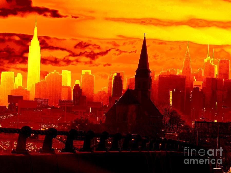 New York City Photograph - New York City Skyline Inferno by Ed Weidman