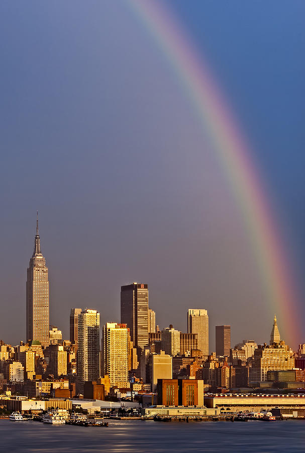 42nd Street Photograph - New York City Skyline Rainbow by Susan Candelario