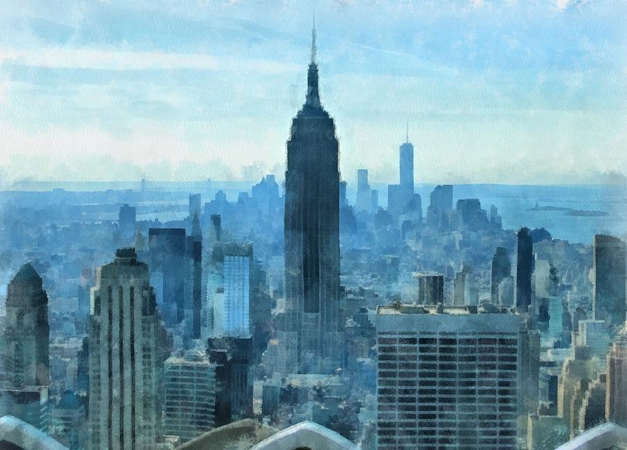 New York City Skyline Summer Day Mixed Media - New York City Skyline Summer Day by Dan Sproul
