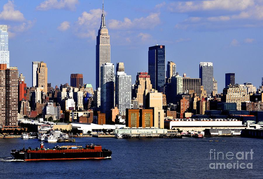 New York City Skyline Photograph - New York City Skyline With Empire State And Red Boat by Kathy Flood