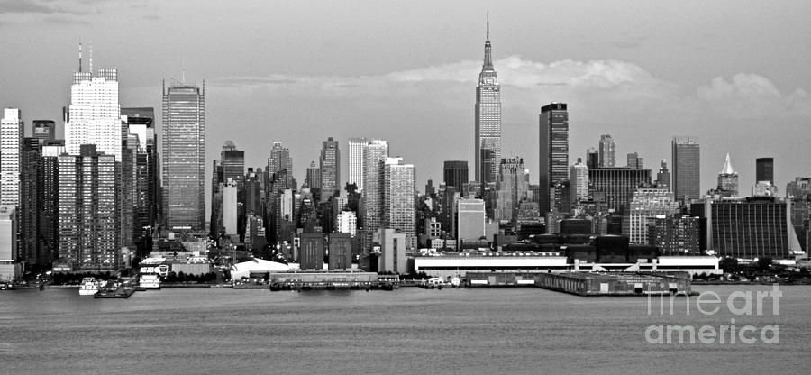 New York City Skyline With Empire State Black And White Photograph