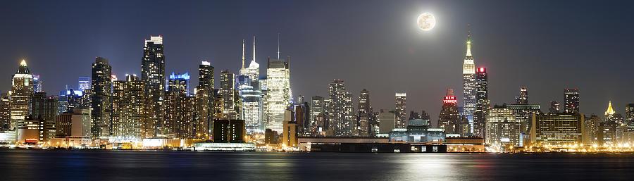 New York City Photograph - New York City Skyline With Full Moon by Zev Steinhardt
