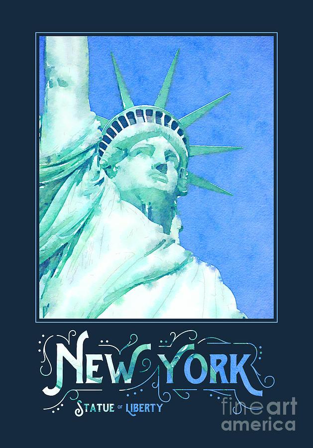 Statue Of Liberty Digital Art - New York City Statue of Liberty Digital Watercolor 1 by Beverly Claire Kaiya