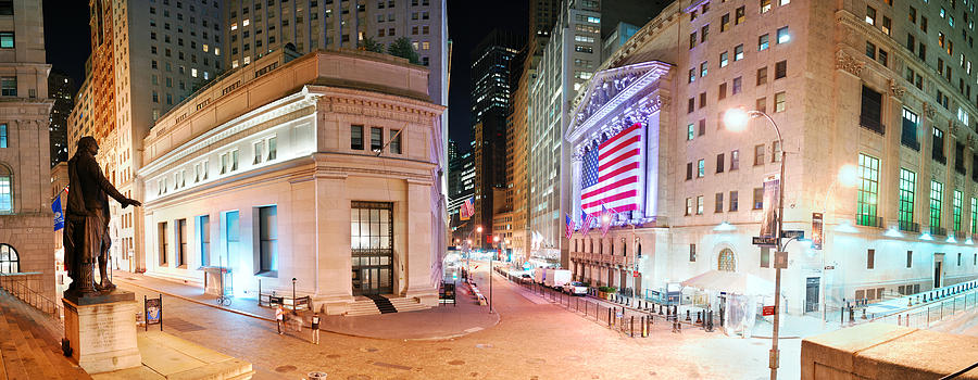 New York City Photograph - New York City Wall Street Panorama by Songquan Deng