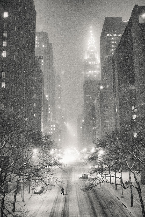 Nyc Photograph - New York City - Winter Night Overlooking the Chrysler Building by Vivienne Gucwa