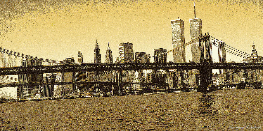 New York Downtown Manhattan Skyline - Yellow Panorama Drawing by ...