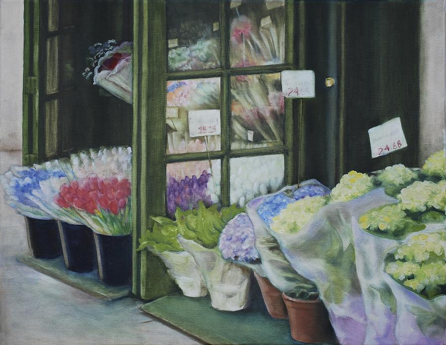 New York Flower Shop Painting by Rebecca Matthews