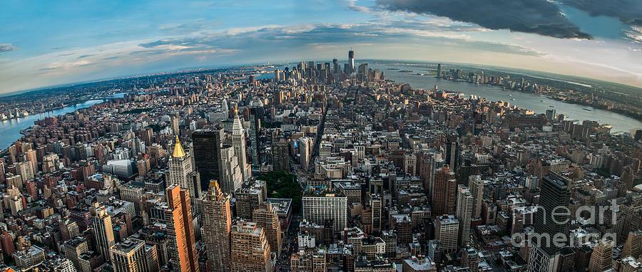 Manhatten Photograph - New York From A Birds Eyes - Fisheye by Hannes Cmarits