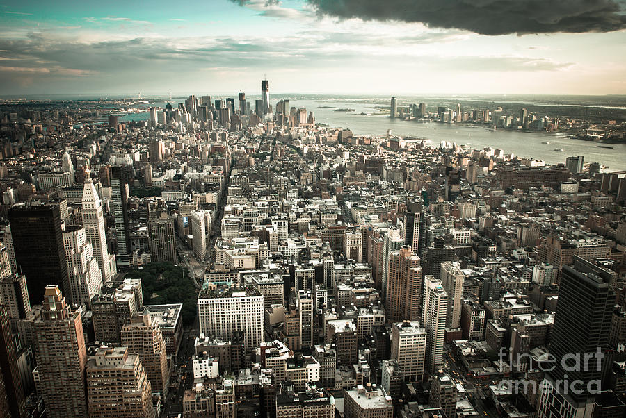 Manhatten Photograph - New York From Above - Vintage by Hannes Cmarits