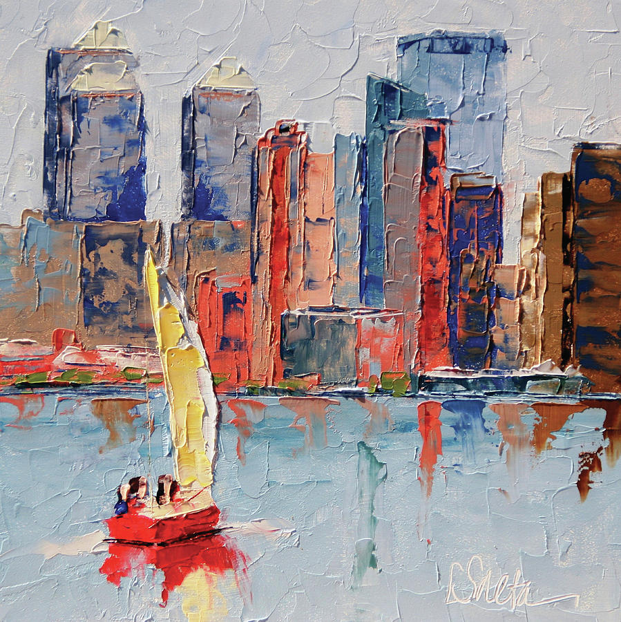 City Scene Painting - New York Harbor by Leslie Saeta