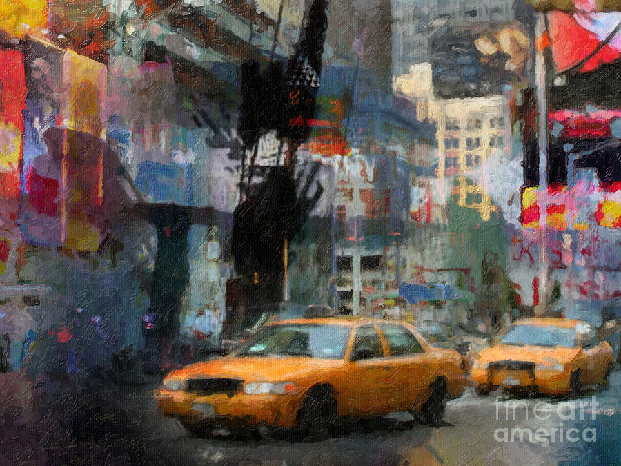 Cityscape Painting - New York Lights by Lutz Baar