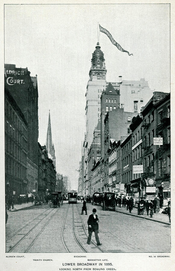 New Photograph - New York  Lower Broadway, Looking North by Mary Evans Picture Library