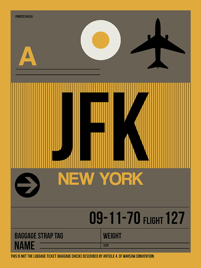 New York Digital Art - New York Luggage Tag Poster 3 by Naxart Studio