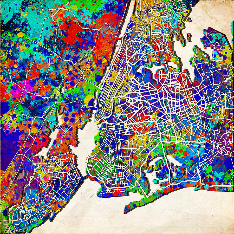 New York Map Abstract  Painting By Bekim Art - Nyc map art