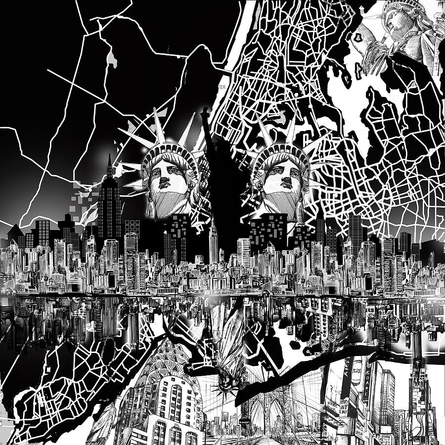 New York Map Black And White.New York Map Black And White 2 Digital Art By Bekim Art