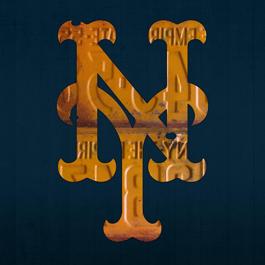 new york mets baseball vintage logo license plate art mixed media by
