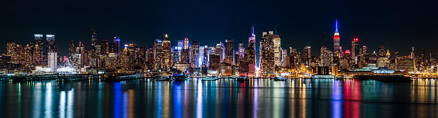 New york Panorama by night by Mihai Andritoiu