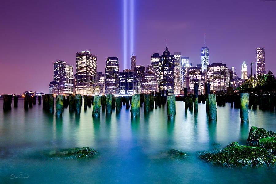 World Trade Center Photograph - New York Pier Tribute by Shane Psaltis