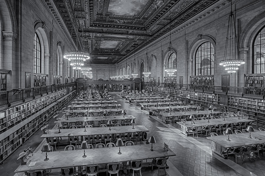 The New York Public Library Photograph - New York Public Library Rose Room Bw by Susan Candelario