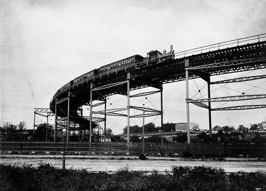 110th Street Photograph - New York Railroad Bridge by Granger