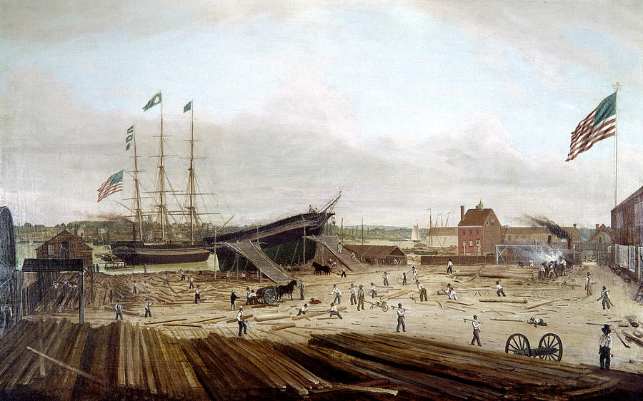 1833 Painting - New York Shipyard, 1833 by Granger