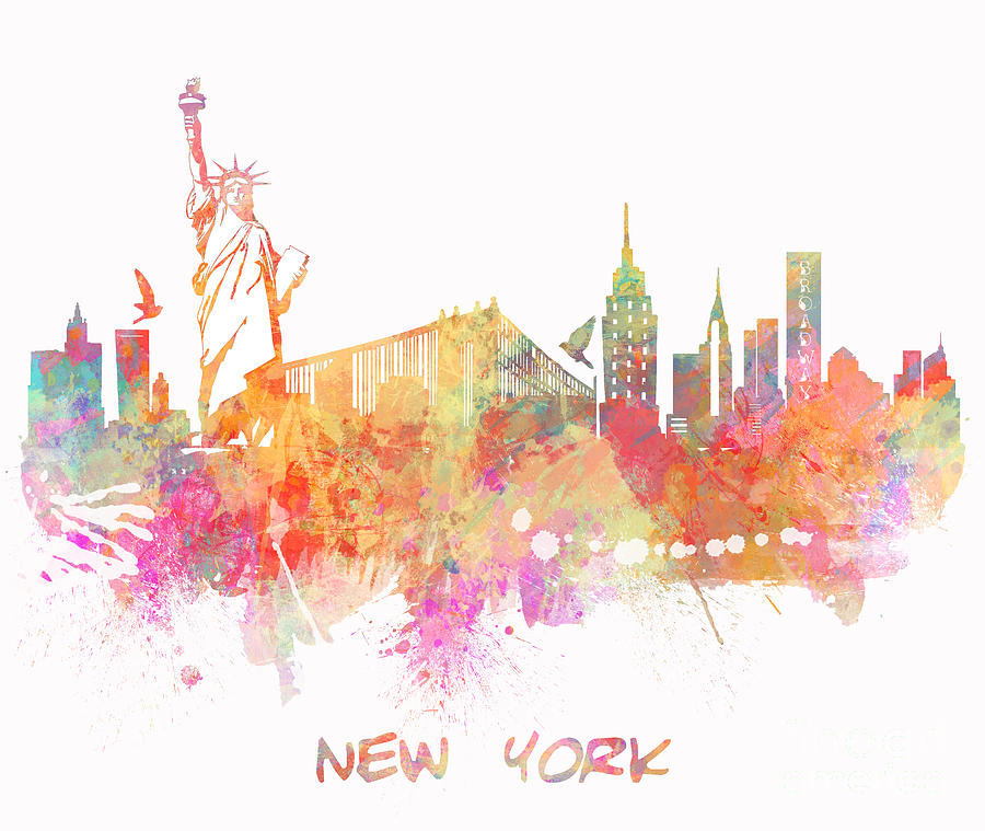 New York Digital Art - New York Skyline City by Justyna JBJart