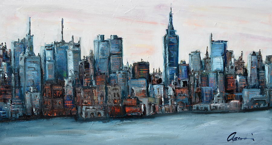 New york skyline painting by michael accorsi for New york skyline painting