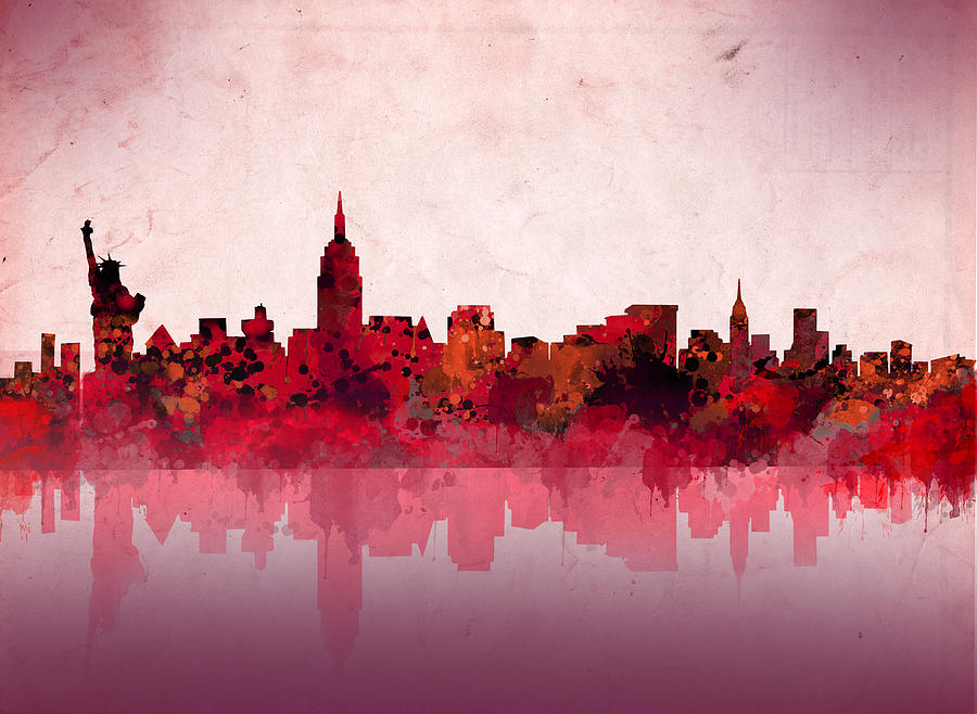 New York Skyline Red Painting By Bekim Art