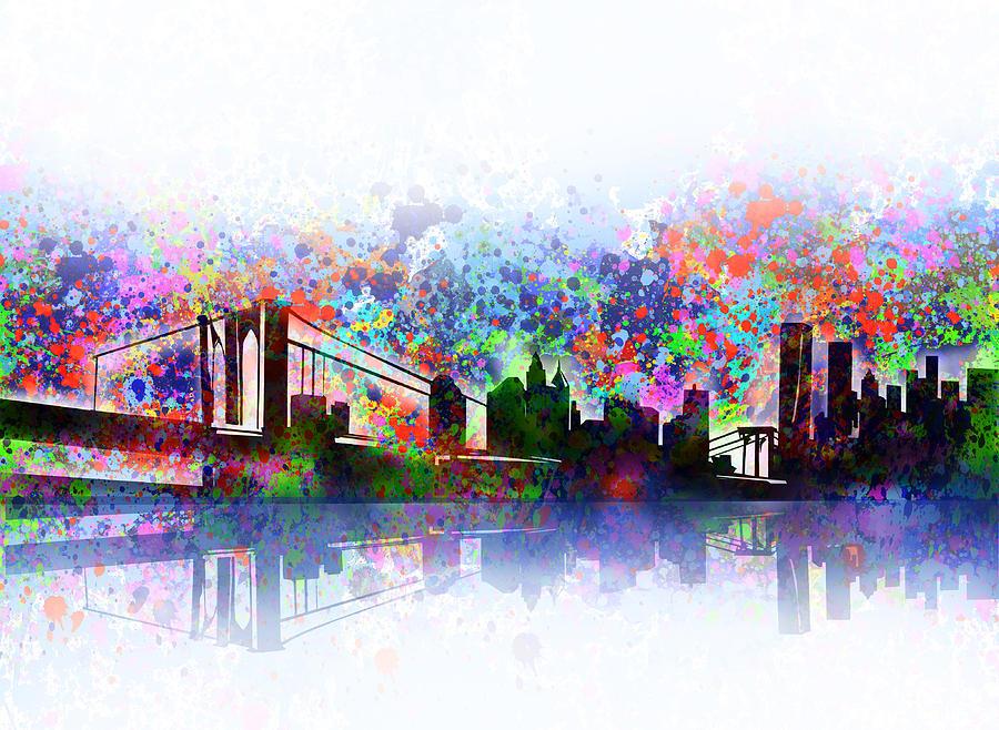 New York Painting - New York Skyline Splats 2 by Bekim M