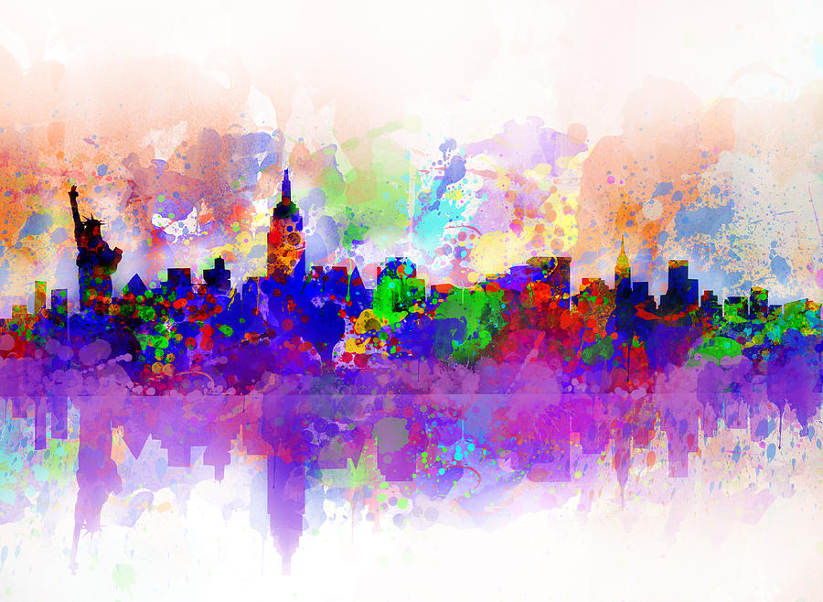 New York Painting - New York Skyline Splats 3 by Bekim Art
