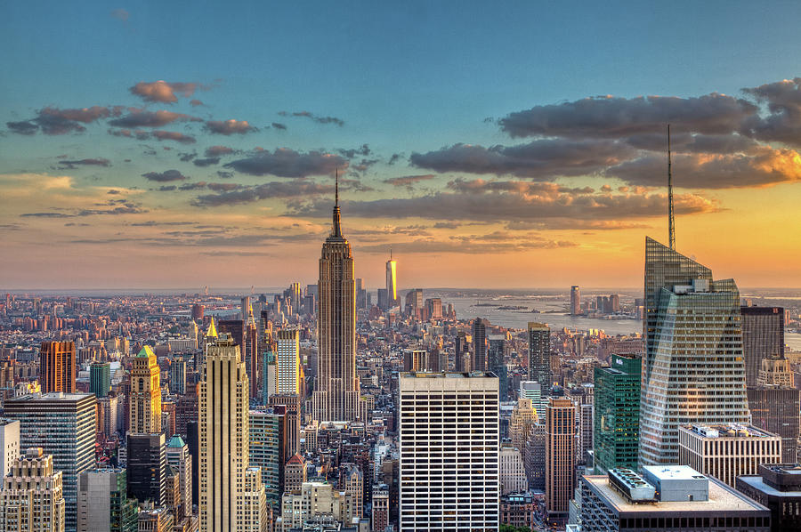 New York Skyline Sunset Photograph by Basic Elements Photography