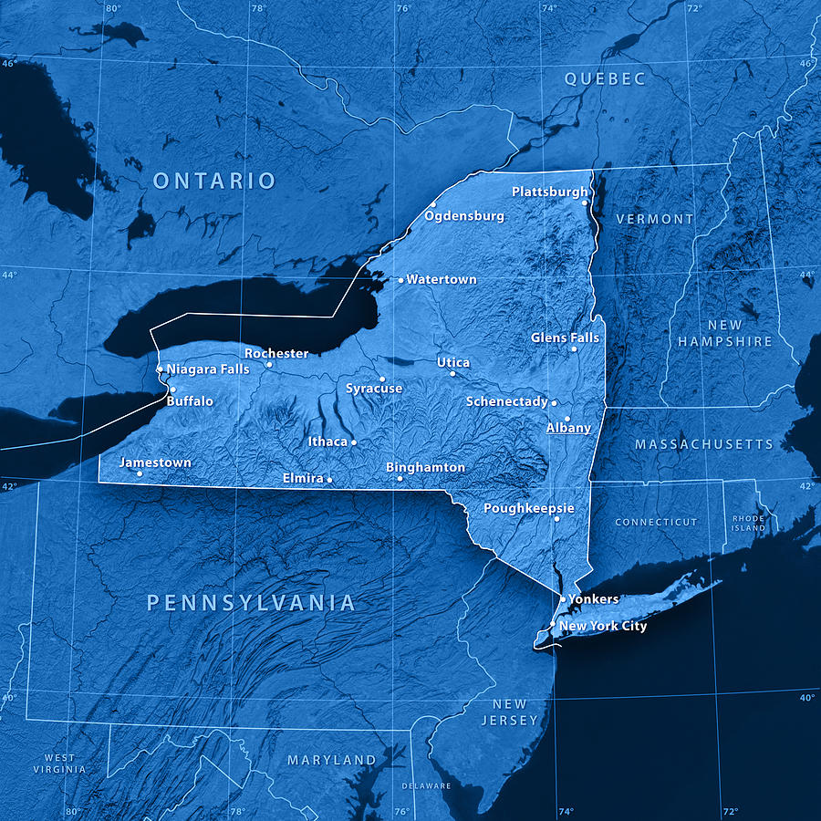 New York State Cities Topographic Map by FrankRamspott