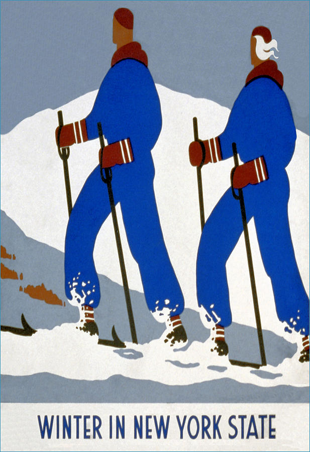 Winter Mixed Media - New York State Skiing Poster by Charlie Ross