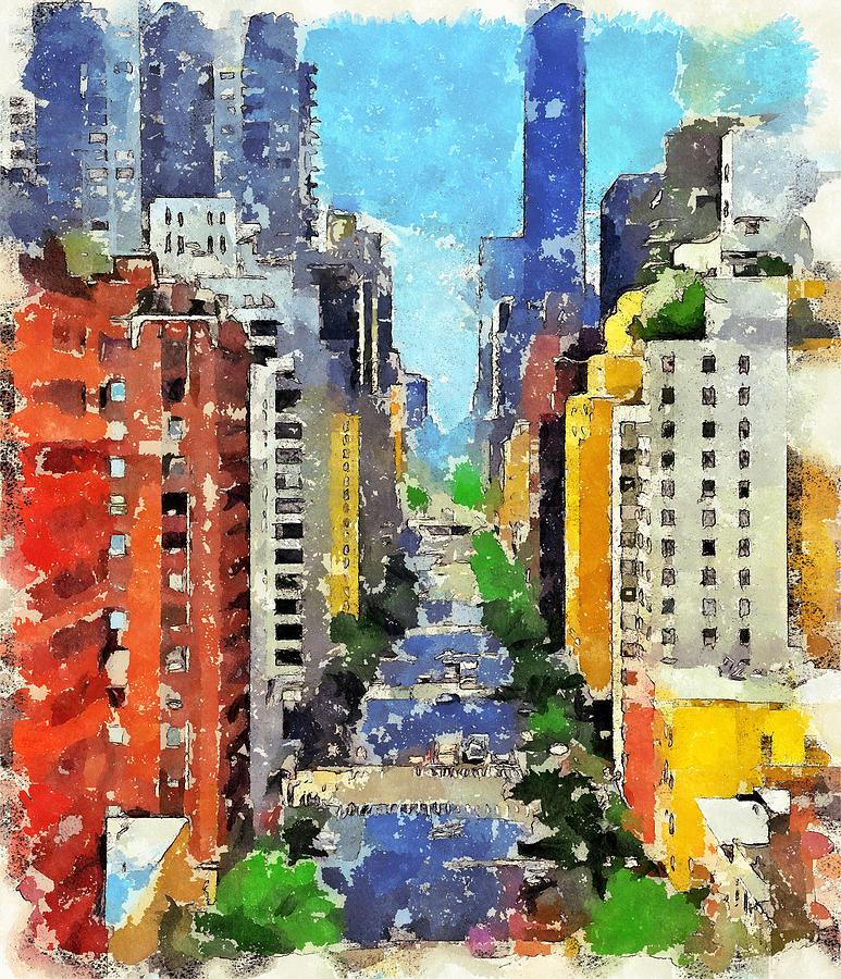 Skyline Digital Art - New York Street View by Yury Malkov