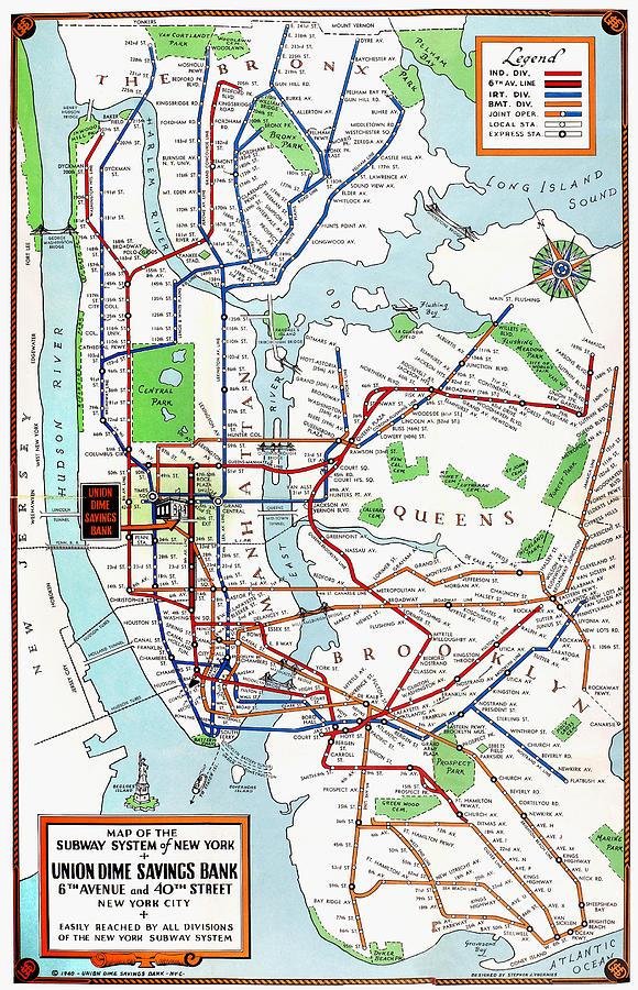 1940 Subway Map.New York Subway Map 1940 By Granger