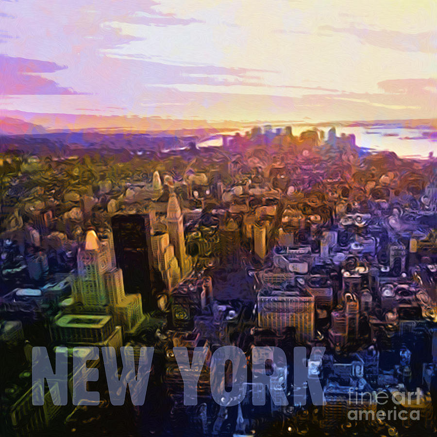 New York City Digital Art - New York Sunset by Lutz Baar